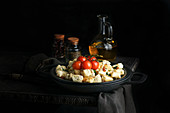 Cottage cheese potato gnocchi with parmesan cheese and grilled cherry tomatoes