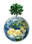 Green planet, conceptual illustration