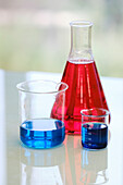 Glass flasks with liquids in a laboratory