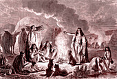 Patagonian natives, 19th century illustration