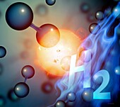 Hydrogen and solar energy, conceptual illustration