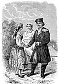People of rural Poland, 19th century illustration