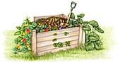 Wooden compost bin, illustration