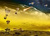 Venera probe approach to Venus, illustration