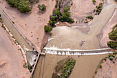 Rio Grande water diverted for irrigation, New Mexico, USA