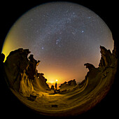 Night sky over rock formations, Persian Gulf coast, Iran