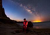 Milky Way and stargazer, Persian Gulf coast, Iran