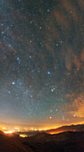Winter constellations and light pollution