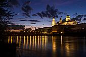 Crescent Moon over Inn River, Passau, Germany