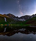 Milky Way over Alpine lake, Alborz Mountains, Iran