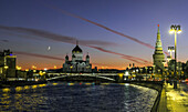 Crescent Moon over Moscow, Russia