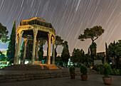 Star trails over Tomb of Hafez, Shiraz, Iran