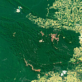 Open pit mines in the Amazon, satellite image