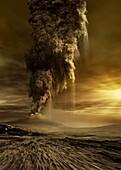 Active volcano on Venus, illustration