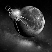 Luna 1 spacecraft passing the Moon, illustration