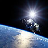 Vostok 1 spacecraft in Earth orbit, illustration