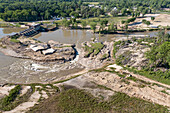 Empty lakes after dams failed, Michigan, aerial photograph