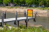 Empty lakes after dams failed, Michigan, USA