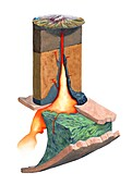 Mt. St. Helens magma plumbing system, illustration