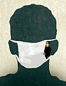 Man looking out of a facemask, illustration