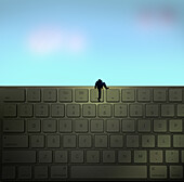 Man climbing on a keyboard, illustration