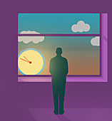 Man looking at clock outside his window, illustration
