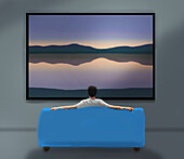 Man watching a lake view from his sofa, illustration