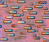 Connection between pills and circuit board, illustration