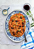 Greek chicken orzo with olives