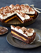 Caramel cake with whipped cream