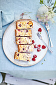 Cake with fruits and almond crust