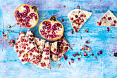 White chocolate bark with pomegranate and rose petals