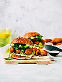Vegan burger with chickpea croquettes
