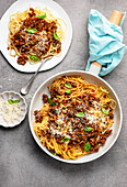 Vegan bolognese with mushrooms and lentils