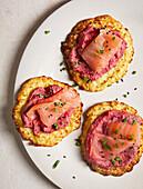 Cauliflower fudge with salmon and pink hummus