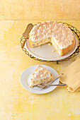 Rhubarb custard cake with meringue topping