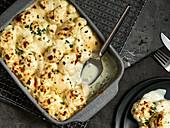 Cauliflower cheese-topped dish