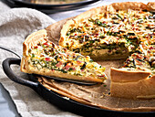 Savoy cabbage quiche with bacon