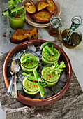 Green gazpacho with garlic bread and olive oil