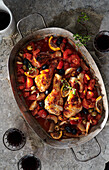 Baked Mediterranean chicken with tomatoes and olives