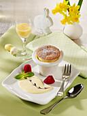 Egg liqueur soufflé with vanilla sauce