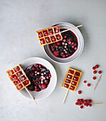Redcurrant waffles on sticks
