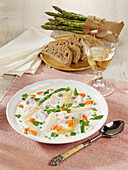 Asparagus soup with chicken breast and mushrooms