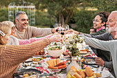 Family toasting during meal in garden