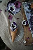 Blueberry ice-cream in cone