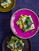Vegan almond 'feta' with courgette in a herb marinade