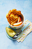 Carrot waffles with apple and avocado