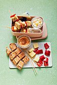 Cheese sandwich skewers with fruit curd 'To Go