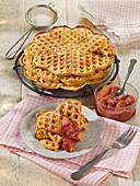 Mascarpone waffles with rhubarb compote