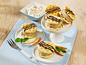 Waffle sandwiches with cinnamon ice cream